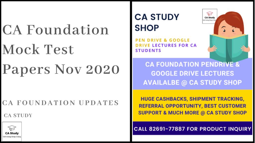 CA Foundation Mock Test Papers Nov 2020