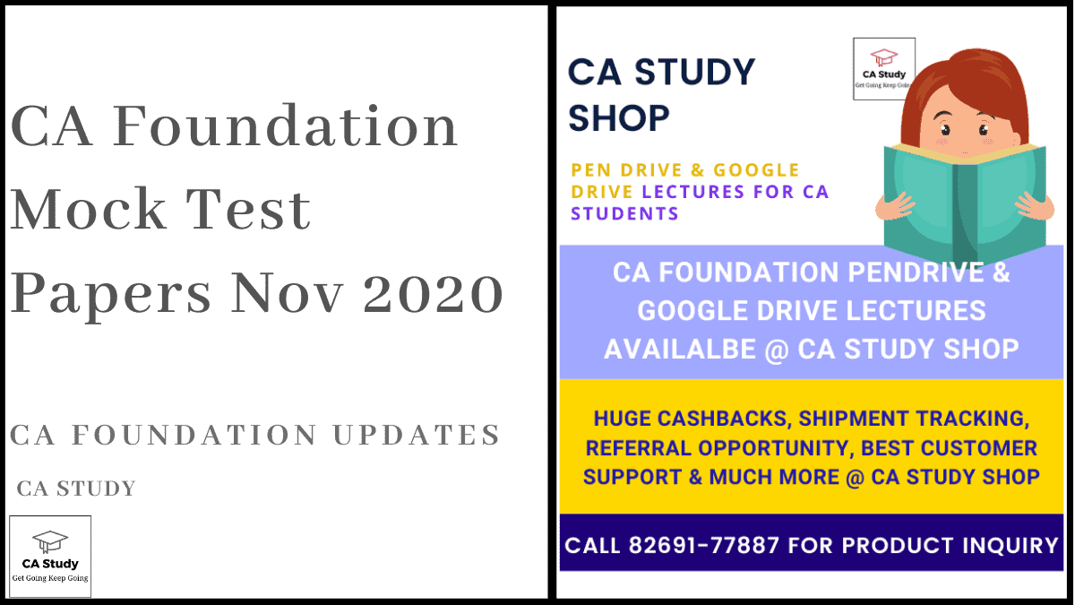 CA Foundation Mock Test Papers Nov 2020