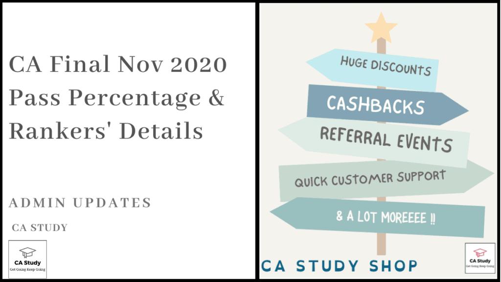 CA Final Nov 2020 Pass Percentage & Rankers' Details