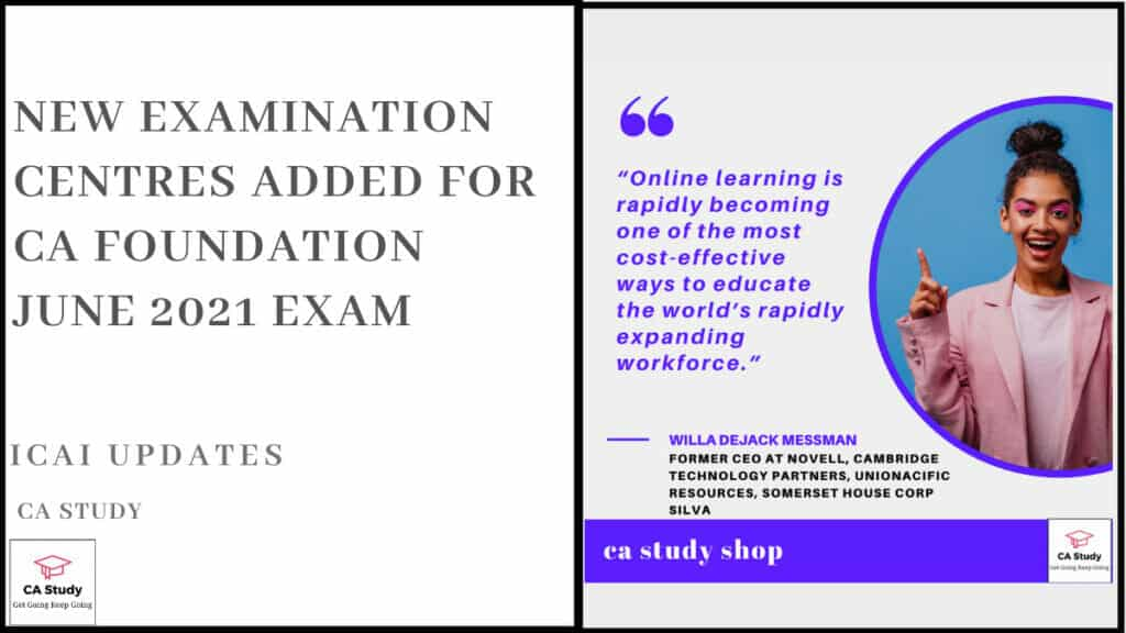 New Examination Centres Added for CA Foundation June 2021 Exam